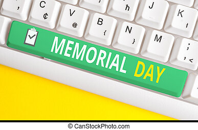 Handwriting text writing Memorial Day. Concept meaning To honor and remembering those who died in military service White pc keyboard with empty note paper above white background key copy space.