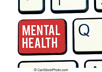 Handwriting text writing Mental Health. Concept meaning Psychological and emotional wellbeing condition of a demonstrating