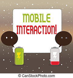 Handwriting text writing Mobile Interaction. Concept meaning the interaction between mobile users and computers Fully Charged and Discharged Battery with Two Colorful Emoji Speech Bubble.