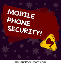 Handwriting text writing Mobile Phone Security. Concept meaning secure data on mobile devices Wireless security Megaphone Inside Triangle and Blank Color Rectangle for Announcement.