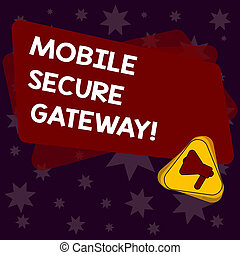 Handwriting text writing Mobile Secure Gateway. Concept...