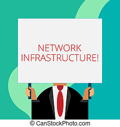 Handwriting text writing Network Infrastructure. Concept meaning Hardware and Software resources In and Out Connection Just man chest dressed dark suit tie no face holding blank big rectangle.