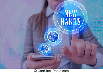 Handwriting text writing New Habits. Concept meaning change the routine of behavior that is repeated regularly Elements of this image furnished by NASA.