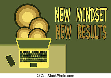 Handwriting text writing New Mindset New Results. Concept meaning obstacles are opportunities to reach achievement Upper view office working place laptop lying wooden desk smartphone side.