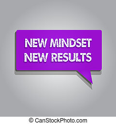 Handwriting text writing New Mindset New Results. Concept meaning Open to Opportunities No Limits Think Bigger