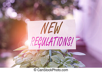 Handwriting text writing New Regulations. Concept meaning rules made government order control something done Plain empty paper attached to a stick and placed in the green leafy plants.