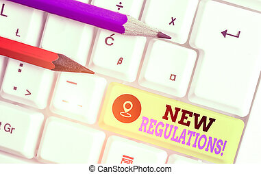 Handwriting text writing New Regulations. Concept meaning rules made government order control something done.