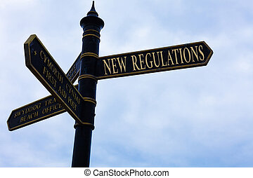 Handwriting text writing New Regulations question. Concept meaning rules made government order to control way something is done Road sign on the crossroads with blue cloudy sky in the background.