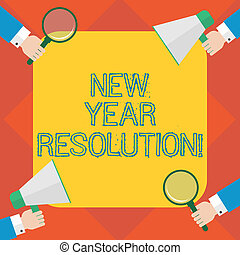 Handwriting text writing New Year Resolution. Concept meaning promise that you make yourself start doing something Hu analysis Hands Each Holding Magnifying Glass and Megaphone on 4 Corners.