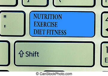 Handwriting text writing Nutrition Exercise Diet Fitness. Concept meaning Healthy Lifestyle Weight loss analysisagement