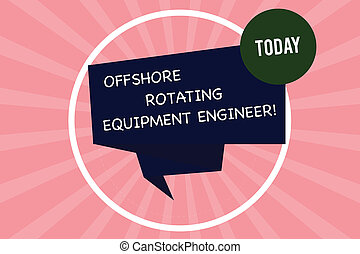 Handwriting text writing Offshore Rotating Equipment Engineer. Concept meaning Oil and gas industry engineering Folded 3D Ribbon Strip inside Circle Loop on Halftone Sunburst photo.