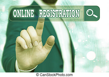 Handwriting text writing Online Registration. Concept meaning System for subscribing or registering via the Internet.