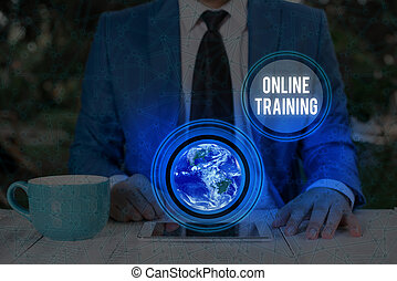 Handwriting text writing Online Training. Concept meaning Computer based training Distance or electronic learning Elements of this image furnished by NASA.