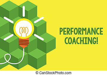 Handwriting text writing Perforanalysisce Coaching. Concept meaning Facilitate the Development Point out the Good and Bad Big idea light bulb. Successful turning idea invention innovation. Startup.