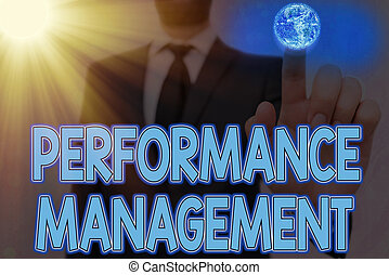 Handwriting text writing Performance Management. Concept meaning ongoing process of communication that occurs all year Elements of this image furnished by NASA.