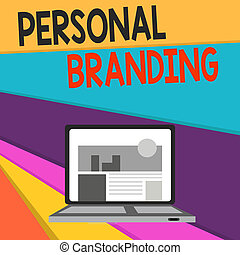 Handwriting text writing Personal Branding. Concept meaning Practice of People Marketing themselves Image as Brands Open Modern Laptop Switched On with Website Homepage on Screen Web Search.