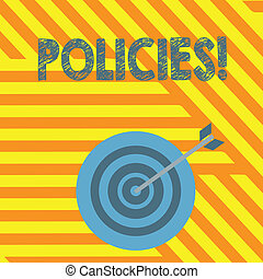Handwriting text writing Policies. Concept meaning Business Company or Government Rules Regulations Standards.