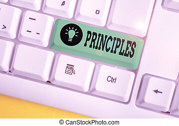 Handwriting text writing Principles. Concept meaning fundamental truth that serves as the base for a system of belief White pc keyboard with empty note paper above white background key copy space.