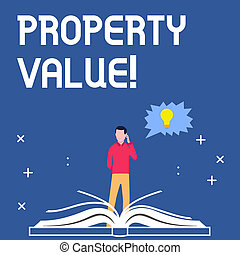 Handwriting text writing Property Value. Concept meaning Estimate of Worth Real Estate Residential Valuation.