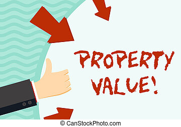 Handwriting text writing Property Value. Concept meaning refers to the fair market value of a given piece of property Hand Gesturing Thumbs Up and Holding on Blank Space Round Shape with Arrows.
