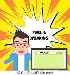 Handwriting text writing Public Speaking. Concept meaning talking showing stage in subject Conference Presentation Male Speaker Monitor with Search Tool on Screen Presentation or Report.