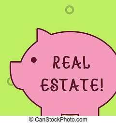 Handwriting text writing Real Estate. Concept meaning owning property consisting of empty land or buildings Fat huge pink pig plump like piggy bank with sharp ear and small round eye.