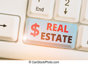 Handwriting text writing Real Estate. Conceptual photo the property consisting of land and the buildings on it