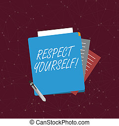 Handwriting text writing Respect Yourself. Concept meaning believing that you good and worthy being treated well Colorful Lined Paper Stationery Partly into View from Pastel Blank Folder.