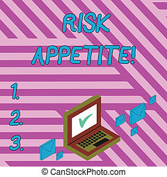 Handwriting text writing Risk Appetite. Concept meaning the level of risk an organization is prepared to accept Color Mail Envelopes around Laptop with Check Mark icon on Monitor Screen.