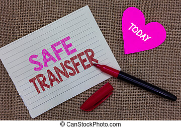 Handwriting text writing Safe Transfer. Concept meaning Wire...