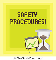 Handwriting text writing Safety Procedures. Concept meaning steps description of process when deviation may cause loss Successful Growth Chart with Arrow Going Up and Hourglass with Sand Sliding.