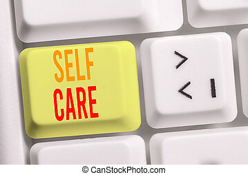 Handwriting text writing Self Care. Concept meaning the practice of taking action to improve one s is own health White pc keyboard with empty note paper above white background key copy space.
