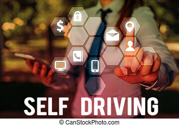 Handwriting text writing Self Driving. Concept meaning ...