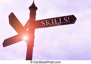 Handwriting text writing Skills. Concept meaning ability do something very well by nature Road sign on the crossroads with blue cloudy sky in the background.