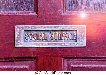 Handwriting text writing Social Science. Conceptual photo scientific study of huanalysis society and social relationships Old retro mailbox on the wooden doors. Hole on the wooden doors for mail