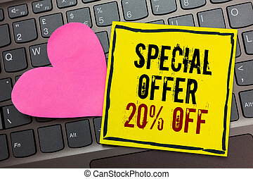 Handwriting text writing Special Offer 20 Off. Concept meaning Discounts promotion Sales Retail Marketing Offer Written on black bordered yellow page touched pink heart on computer keyboard.