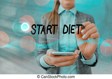 Handwriting text writing Start Diet. Concept meaning the practice of eating food in a regulated and supervised fashion Graphics padlock for web data information security application system.