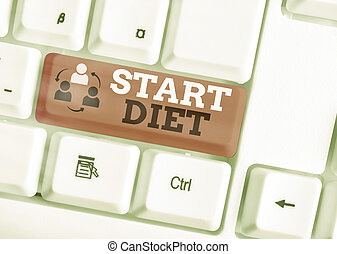 Handwriting text writing Start Diet. Concept meaning the practice of eating food in a regulated and supervised fashion White pc keyboard with empty note paper above white key copy space.