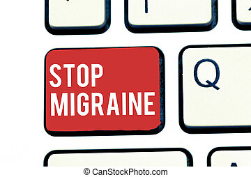 Handwriting text writing Stop Migraine. Concept meaning Preventing the full attack of headache Caffeine withdrawal