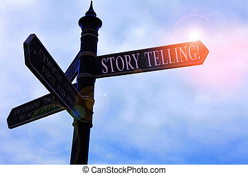Handwriting text writing Story Telling. Concept meaning activity writing stories for publishing them to public Road sign on the crossroads with blue cloudy sky in the background.