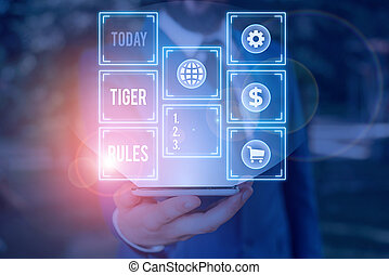 Handwriting text writing Tiger Rules. Concept meaning ...