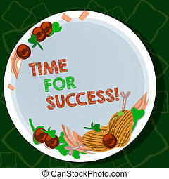 Handwriting text writing Time For Success. Concept meaning To get professional rewards after hard effective work Hand Drawn Lamb Chops Herb Spice Cherry Tomatoes on Blank Color Plate.