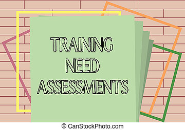 Handwriting text writing Training Need Assessments. Concept meaning determine the exercise required to fill the Gap