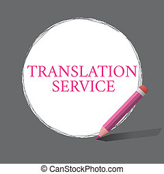 Handwriting text writing Translation Service. Concept...