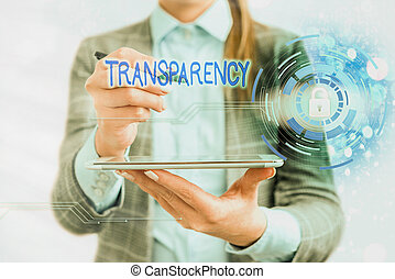Handwriting text writing Transparency. Conceptual photo something transparent especially a picture viewed by light Graphics padlock for web data information security application system