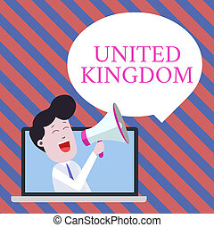 Handwriting text writing United Kingdom. Concept meaning Island country located off the northwestern coast of Europe Man Speaking Through Laptop into Loudhailer Blank Speech Bubble Announce.
