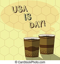Handwriting text writing Usa Memorial Day. Concept meaning Federal holiday remembering showing who died while serving Two To Go Cup with Beverage and Steam icon Blank Speech Bubble photo.