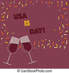 Handwriting text writing Usa Memorial Day. Concept meaning Federal holiday remembering showing who died while serving Filled Wine Glass Toasting for Celebration with Scattered Confetti photo.