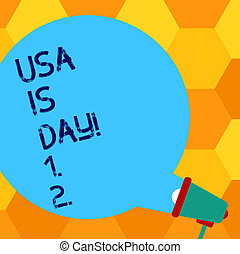Handwriting text writing Usa Memorial Day. Concept meaning Federal holiday remembering showing who died while serving Blank Round Color Speech Bubble Coming Out of Megaphone for Announcement.