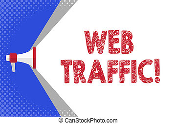 Handwriting text writing Web Traffic. Concept meaning amount...